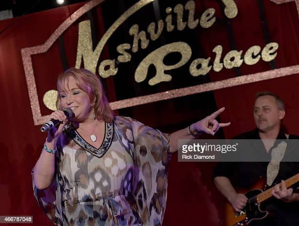 Recording Tanya Tucker performs during the AllStar Whitey Shafer Benefit Hosted By Moe Bandy at The Nashville Palace on March 18 2015 in Nashville...