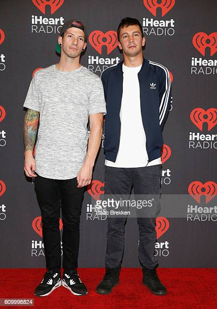 Recordings artists Josh Dun and Tyler Joseph of music group Twenty One Pilots attend the 2016 iHeartRadio Music Festival at TMobile Arena on...