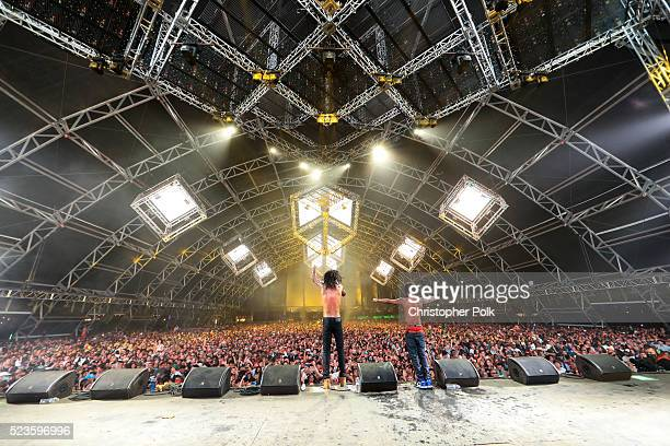 Recordings artists Swae Lee and Slim Jimmy of Rae Sremmurd perform onstage during day 1 of the 2016 Coachella Valley Music Arts Festival Weekend 2 at...