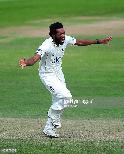 Recordo Gordon of Warwickshire celebrates taking the wicket of Craig Overton of Somerset during day four of the LV County Championship Division One...