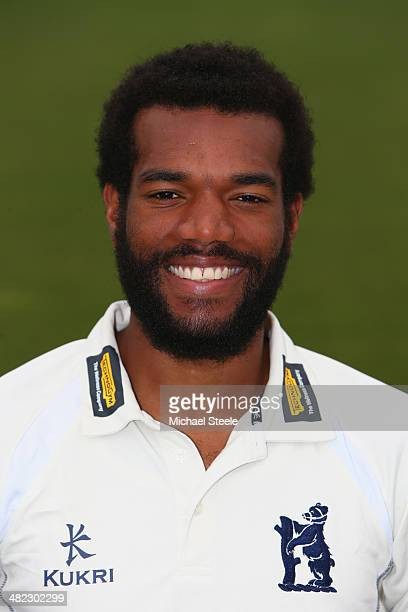 Recordo Gordon of Warwickshire poses in the LV County kit during the Warwickshire CCC photocall at Edgbaston on April 3 2014 in Birmingham England