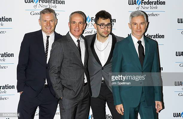 Records chairman and CEO Peter Edge RCA Records president and COO Tom Corson musician Jack Antonoff and director Baz Luhrmann attend the 2016...