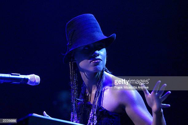 J Records recording artist Alicia Keys performing at City Center in New York City 8/24/01 Photo by Frank Micelotta/Getty Images