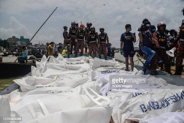 Recovered bodies of launch capsize victims collected from Buriganga River. A passenger vessel got hit by another launch and sank in the Buriganga...