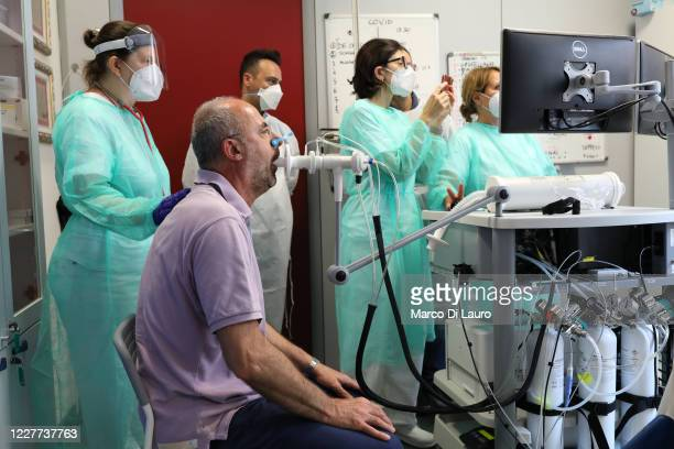 Recovered Coronavirus patient is tested at the Department of Rehabilitative Cardiology of ASL 3 Genova on July 22, 2020 in Genoa, Italy. There is an...