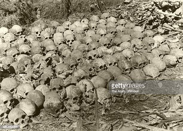 Recovered sculls of the Japanese Imperial Army soldiers died during the World War II are seen circa 1956 in Burma