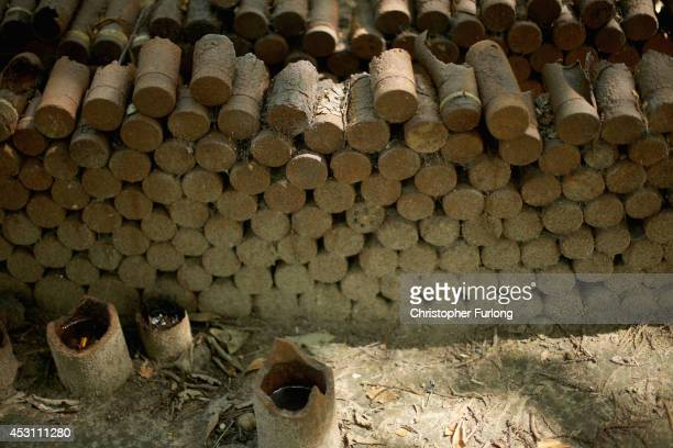 Recovered shells and munitions sit on display at the preserved 'Sanctuary Wood' on August 3 2014 in Ypres Belgium Monday 4th August marks the 100th...
