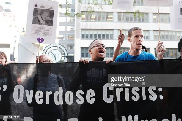 Recovering drug users activists and social service providers hold a morning rally calling for bolder political action in combating the overdose...