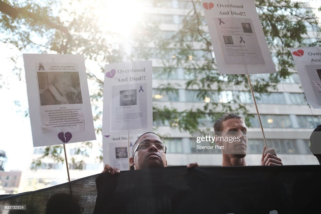 Recovering drug users, activists and social service providers hold a morning rally calling for 'bolder political action' with the overdose epidemic outside of the office of Governor Andrew Cuomo on August 17, 2017 in New York City. According to the latest data available from the National Institute on Drug Abuse, nearly 35,000 people across America died of heroin or opioid overdoses in 2015.
