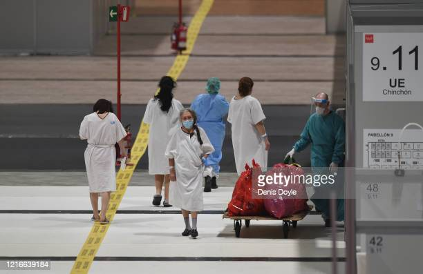 Recovering patients exercise at the Temporary Hospital of the Community of Madrid authorized at IFEMA to treat patients with coronavirus on April 03...