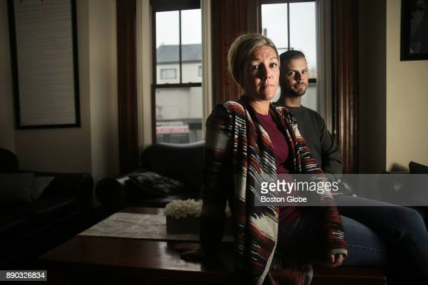 Recovery coach manager Katie O'Leary and recoveree Derek Major pose for a portrait at the residential treatment facility Meridian House in East...