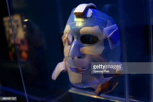 A recovery mask used by a burn victim from the attacks on September 11 is viewed during a tour of the National September 11 Memorial Museum on May 14...