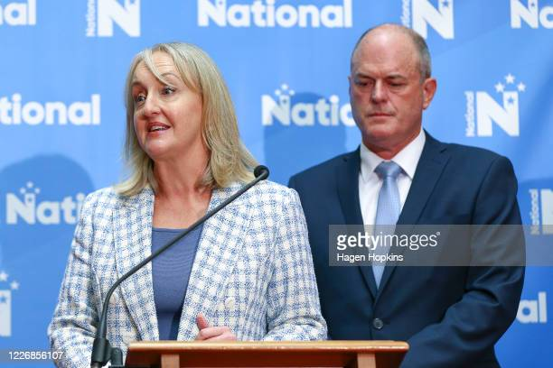 Recovery portfolio holder Amy Adams speaks while newly elected National Party Leader Todd Muller looks on during a press conference to announce a new...