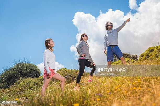 Recreation and hiking on hills in nature for healthy lifestyle