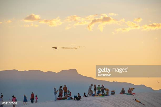 recreation at white sands national monument in southern new mexico - las cruces new mexico stock pictures, royalty-free photos & images