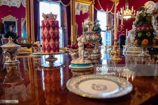 Recreation of a royal Victorian dinner in the State Dining Room at Buckingham Palace on July 17, 2019 in London, England. To mark the 200th...