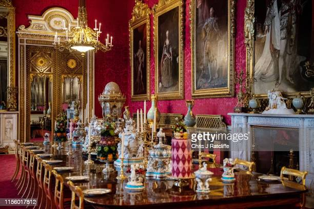 A recreation of a royal Victorian dinner in the State Dining Room at Buckingham Palace on July 17 2019 in London England To mark the 200th...