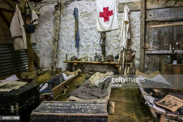 Recreation of a World War One dressing station at the Romagne '14 '18 museum at RomagnesousMontfaucon Lorraine France