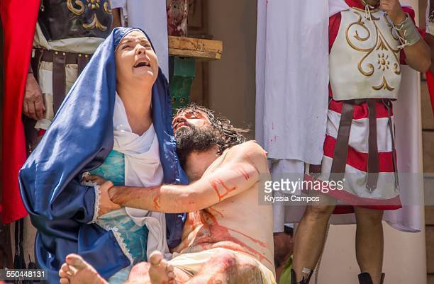 Recreation of bibles scenes the body of Jesus on the lap of his mother Mary after the Crucifixion