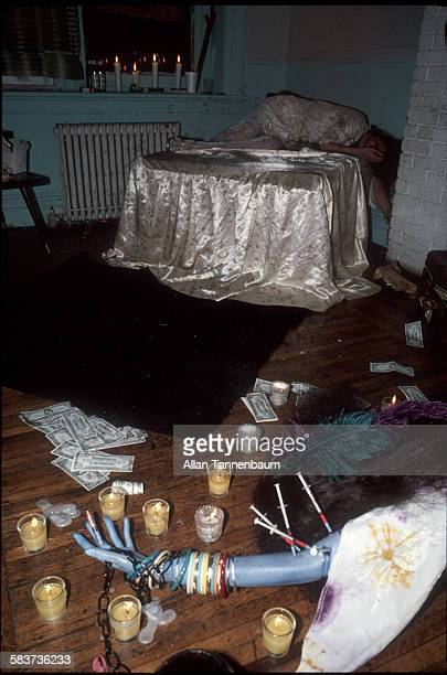Recreation of Janis Joplin's death during the Mudd Club Rock Suicide Party New York New York September 23 1979