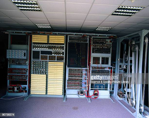 Recreation of the 'Colossus' computer at Bletchley Park 1997 This shows the circuitry and pulleywheel system of the Colossus computer at Bletchley...