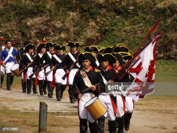 Recreation Spanish royalist troops march set in 1820 indepencia for the republic of Chile this decision was cast during the recreation of the Battle...