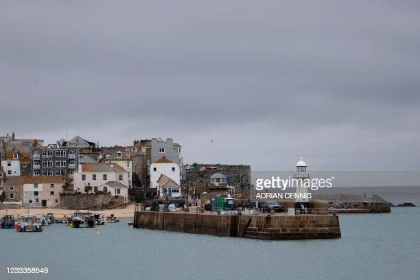 Recreational craft are moored in the waters of St Ives, Cornwall on June 9 ahead of the G7 summit. - G7 leaders from Canada, France, Germany, Italy,...