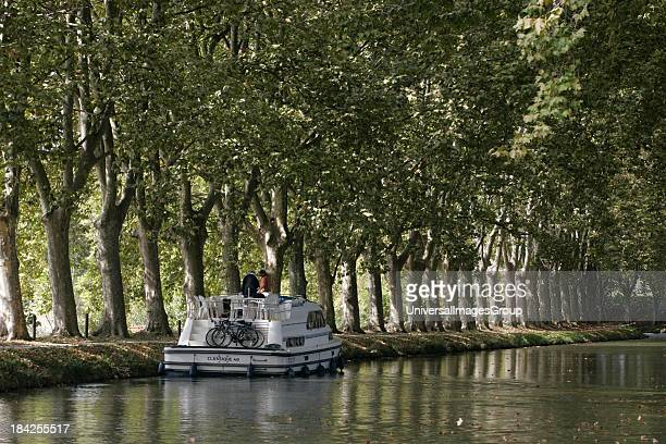 Recreational Holiday canal boats Canal du Midi Trebes by Carcassonne Aude France