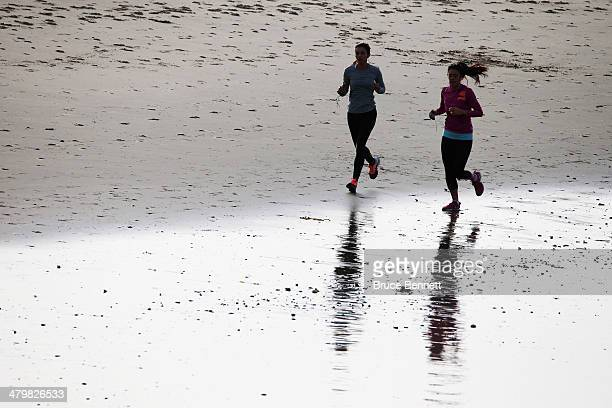 Recreational joggers enjoy the sport on March 20 2014 in Marina del Rey California