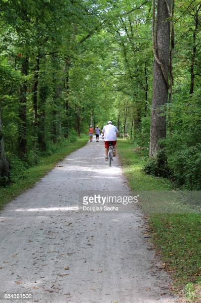 recreational towpath trail, cuyahoga valley national park, brecksville, ohio, usa - cuyahoga river stock photos and pictures