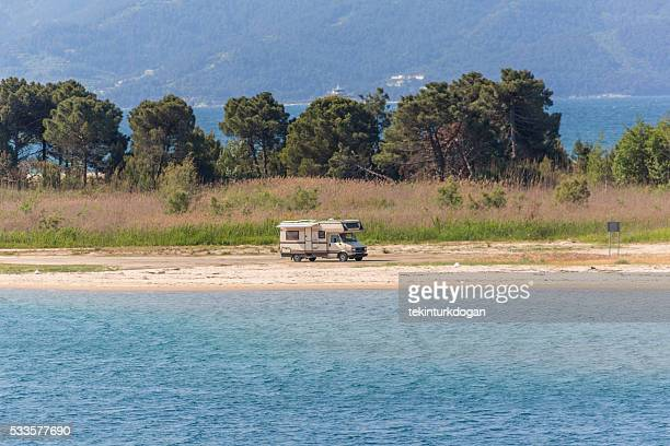 recreational vehicle at coast of  summer town keramoti  kavala greece