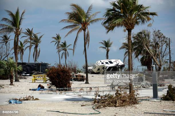 Recreational vehicle trailers are scattered and tossed after Hurricane Irma blew through at the Sunshine Key RV Resort and Marina September 13 2017...