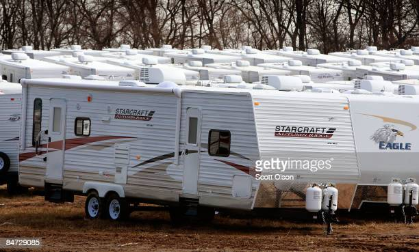Recreational vehicles sit on the grounds of Jayco Inc the country's third largest maker of RVs February 10 2009 in Middlebury Indiana Middlebury is...