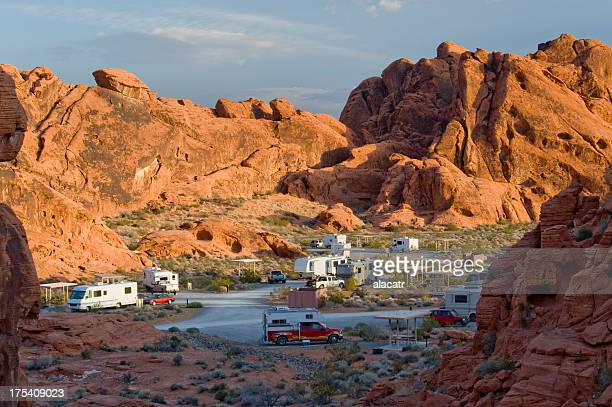 recreational vehicles, valley of fire campground, nevada - state park stock pictures, royalty-free photos & images