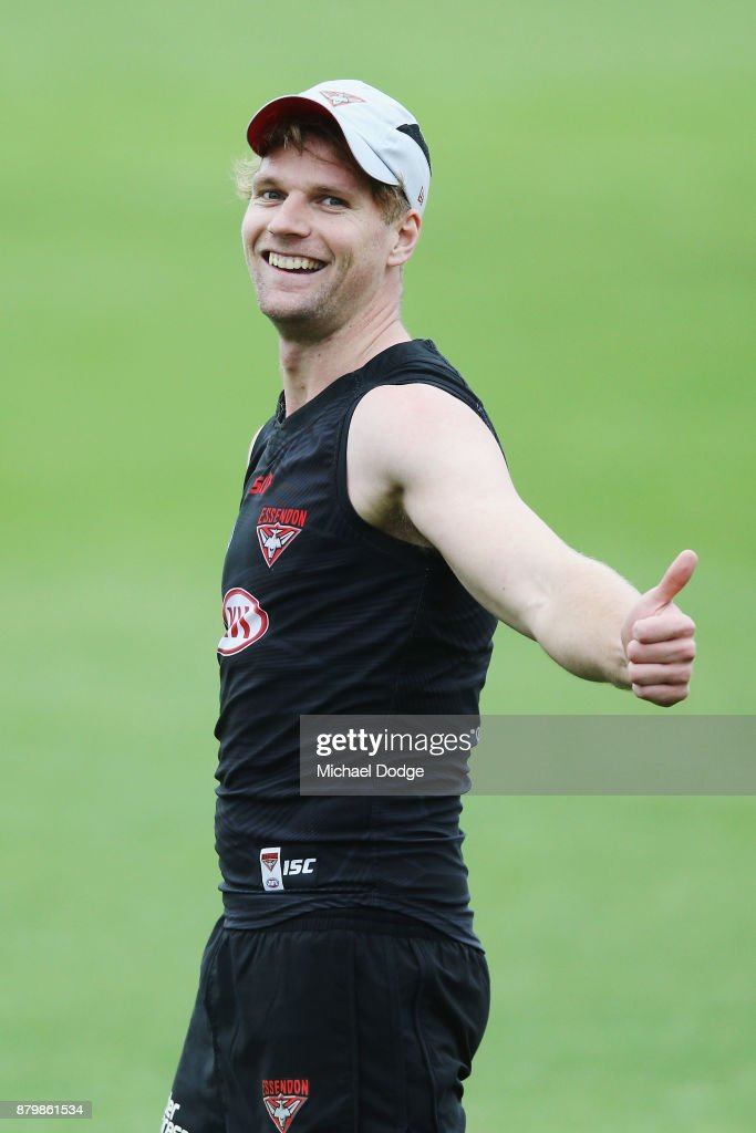 Recruit Jake Stringer gestures during an Essendon Bombers AFL training session at the Essendon Bombers Football Club on November 27, 2017 in Melbourne, Australia.