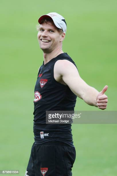 Recruit Jake Stringer gestures during an Essendon Bombers AFL training session at the Essendon Bombers Football Club on November 27 2017 in Melbourne...