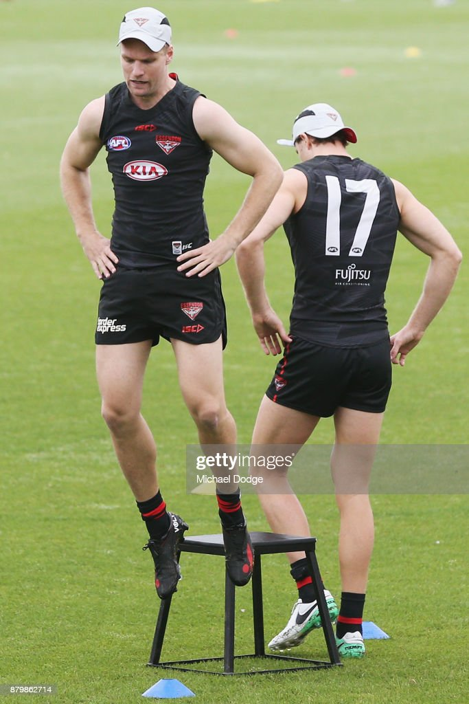 Recruit Jake Stringer springs off the platform during an Essendon Bombers AFL training session at the Essendon Bombers Football Club on November 27, 2017 in Melbourne, Australia.