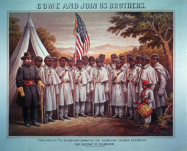 Illustration Of Black Union Regiment, Civil War, 1860s. Wall Art