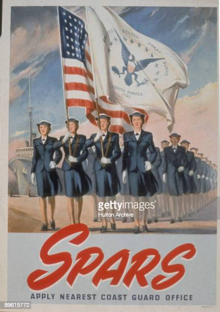 Recruitment poster for Coast Guard 'Spars' program features uniformed women as they march in line on a dock under and American flag and the flag of...