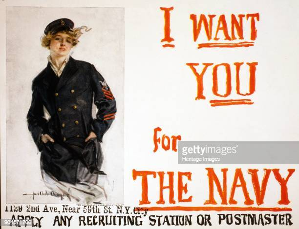 WW1 Recruitment Poster for the US Navy pub 1917 I Want You for the Navy Apply any Recruiting Station or Postmaster