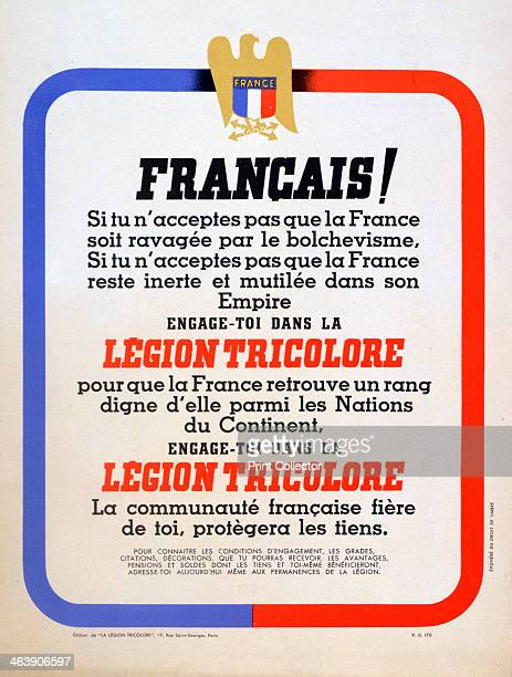 Recruitment poster for the Vichy French Légion Tricolore c1942 During the Second World War the collaborationist Vichy regime in France proposed the...