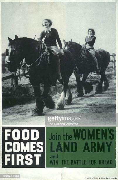 Recruitment poster Join the Women's Land Army and win the battle for bread