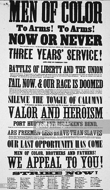 Recruitment poster soliciting Black soldiers to fight for the Union army in the American Civil War, with signatures including that of Frederick...