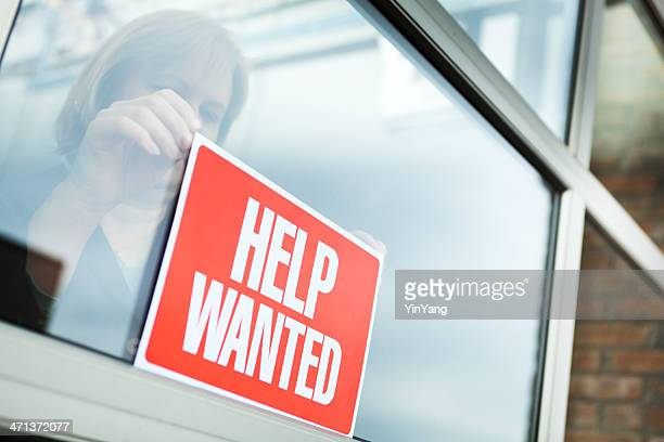 help wanted recruitment sign displayed for hiring, employment, economic recovery - help wanted sign stock photos and pictures