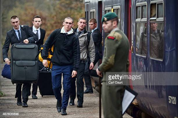 Recruits arrive at Commando Training Centre Royal Marines on December 01 2014 in Lympstone United Kingdom Recruit training lasts for 32 weeks for...