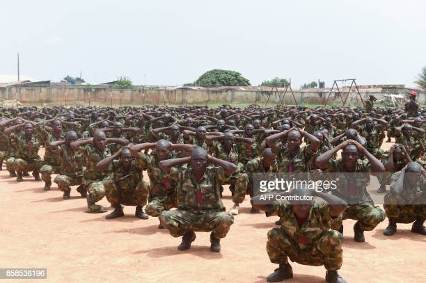 TOPSHOT Recruits undergo training at the headquaters of the Depot of the Nigerian Army in Zaria Kaduna State in northcentral Nigeria on October 5...