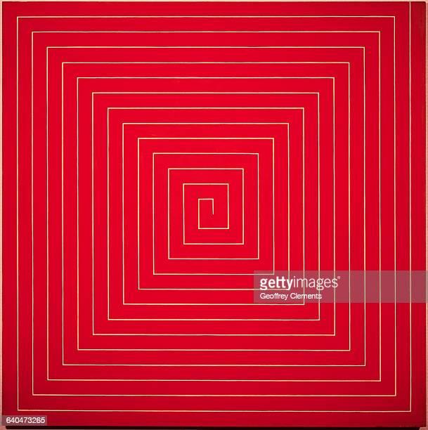 Rectangular Orange Painting with Diagonal Pattern by Frank Stella