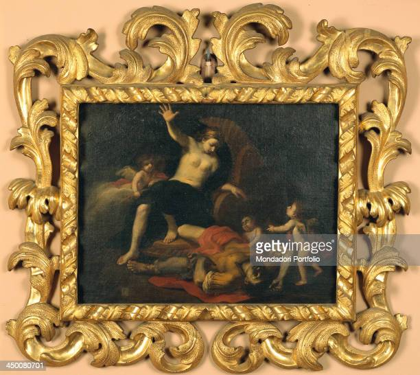 Rectangular wood frame by Bologna manufacture 18th Century water gilding with bole