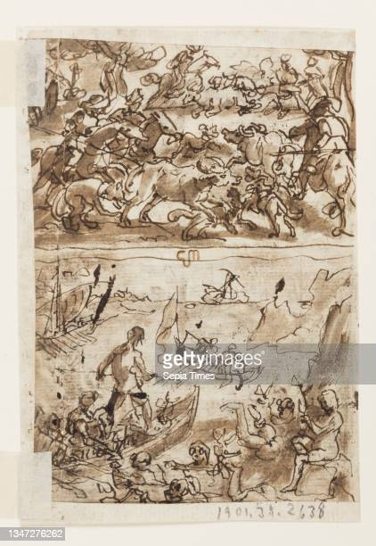 Collecting Bitumen, from Pliny's Natural History, Book 35, ch 51; Recto, below: Catching Night Moths. Verso, above: Buffalo Hunt; Verso, below:...