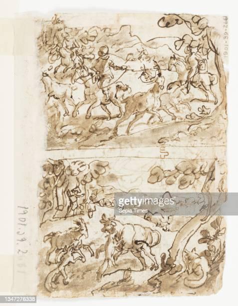 Apollo, or 'Litterae' , preliminary design for pl. 3 in the Schema, seu Speculum Principum series; Verso, above: Deer Hunt with Lassos; Verso, below:...